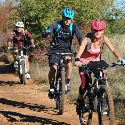 Mountain-biking along the trails in Sault