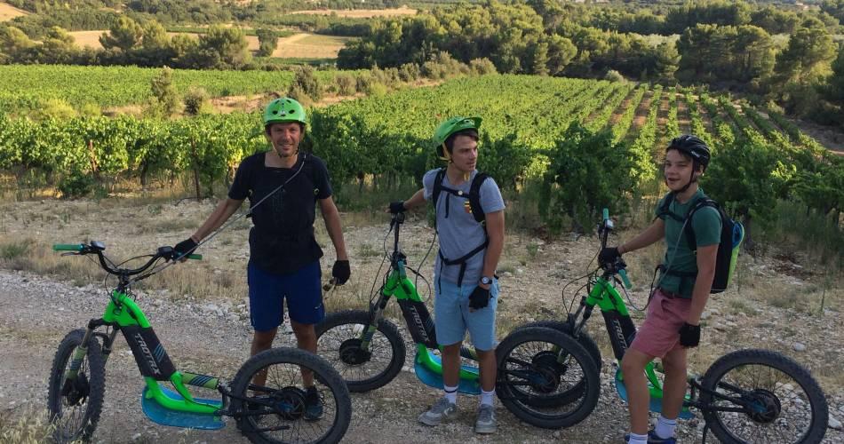 Sortie en trottinette électrique dans un domaine viticole@Coll. Trottin' Luberon